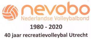 Logo 40 jaar recreatievolleybal speelgebied Utrecht